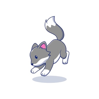 Springender süßer kleiner wolf vektor-illustration-design