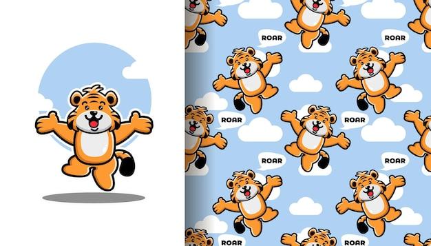 Springender tiger nahtloses muster