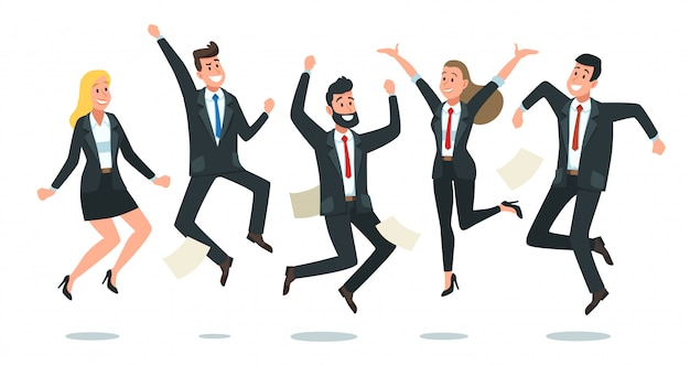 Springendes business-team. büroangestellte springen, glückliche unternehmenskollegen sprangen zusammen und teamwork-spaßkarikaturillustration