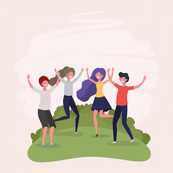 Springendes feiern der jungen leute in den parkcharakteren