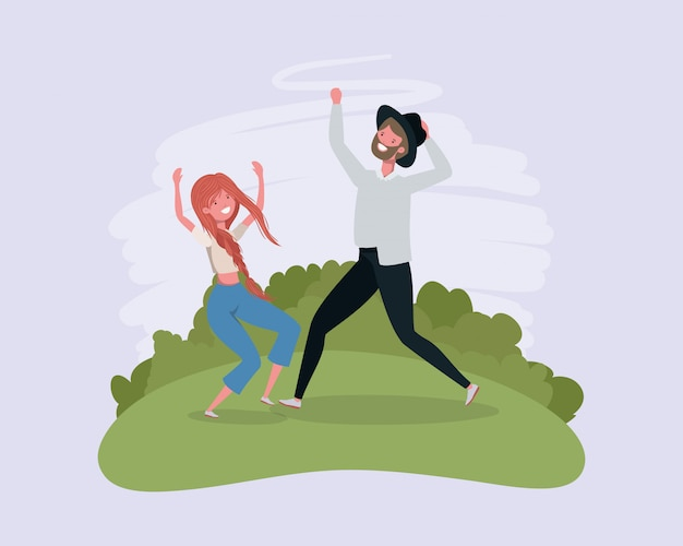 Springendes feiern der jungen paare in den parkcharakteren
