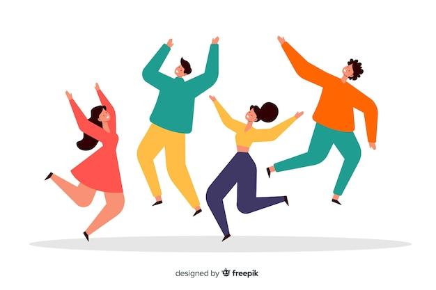 Springendes konzept der gruppe von leuten für illustration