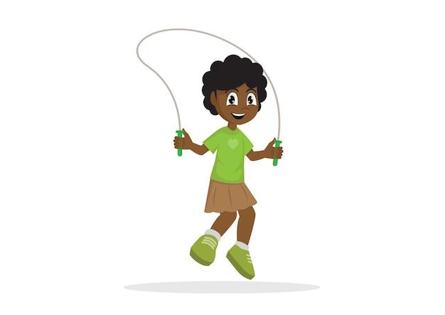 Springendes seil des afrikanischen mädchens.