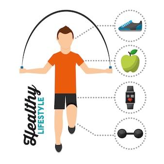 Springendes seil des mannes, das gesunden lebensstil ausbildet
