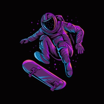 Springendes skateboard des astronauten auf raum lokalisierte dunkelheit