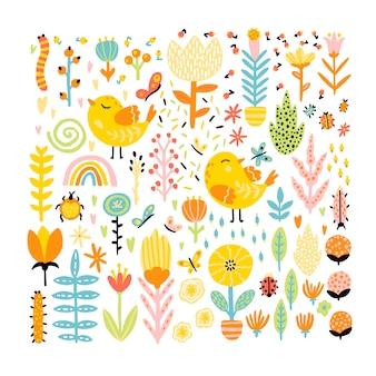 Springy sammlung von cartoon-doodle-elementen für design. nette vögel mit insektenblumen und einem regenbogen. kindliche illustration im handgezeichneten skandinavischen stil