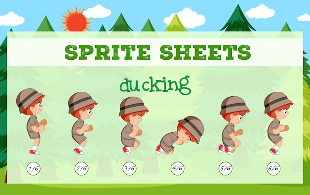 Sprite-sheet boy ducking