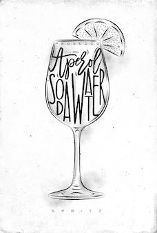 Spritz cocktail mit schriftzug