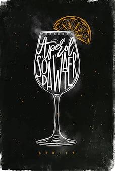Spritz cocktail schriftzug prosecco, aperol, sodawasser, in der grafischen zeichnung der weinleseart mit kreide und farbe auf tafelhintergrund