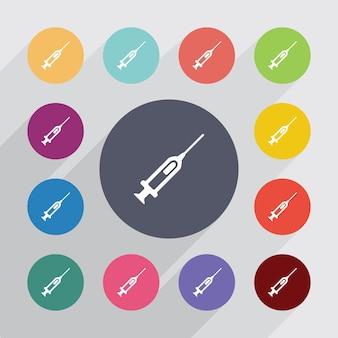 Spritze, flache symbole gesetzt. runde bunte knöpfe. vektor