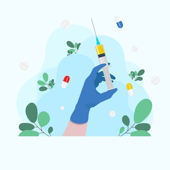 Spritze in der hand des arztes. krankenwagen arzt. spritze in der hand grippeschutzimpfung. injektionsspritze. hand hält eine spritze. medizin-gesundheitskonzept. medizinischer hintergrund