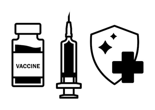 Spritze mit fläschchenzeichen. impfung gegen coronavirus. impfkonzept. corona-virus-impfung mit impfstoffflasche und spritze, injektionswerkzeug für die covid-19-impfbehandlung. vektor