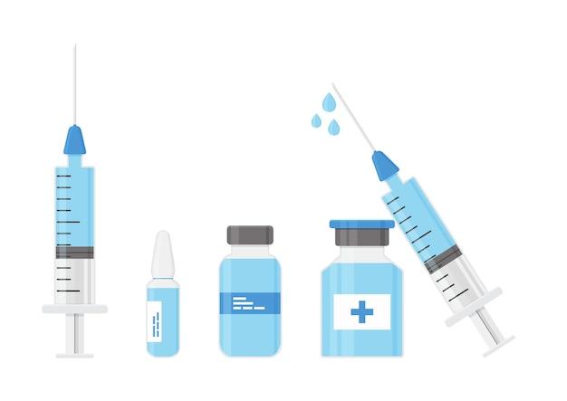 Spritzen- und fläschchen-impfstoff-medizinflasche vektorsymbol medizinisches injektionskonzept
