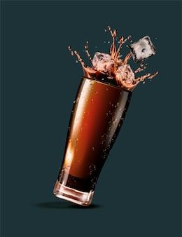Spritzen von cola mit eiswürfeln in der 3d-illustration