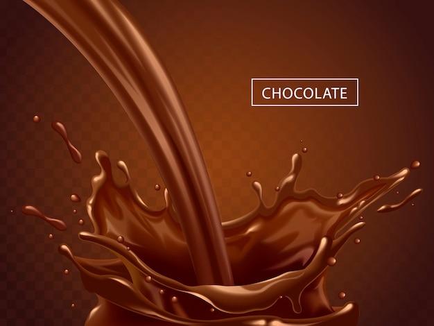 Spritzende schokoladenflüssigkeit, leckere süße schokolade, die als elemente in der 3d-illustration isoliert wird