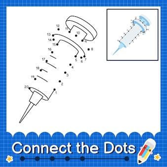 Spritzenkinder verbinden das punktarbeitsblatt für kinder, die die nummern 1 bis 20 zählen