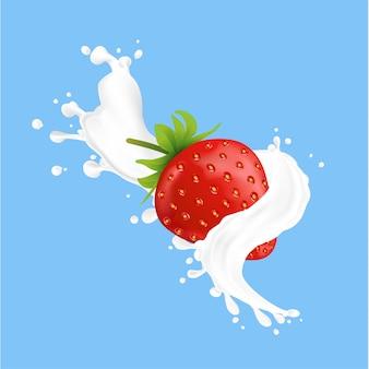 Spritzer frischer milch mit erdbeere