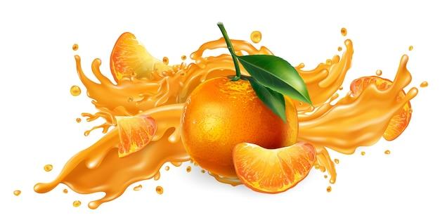 Spritzer fruchtsaft und frische mandarinen.