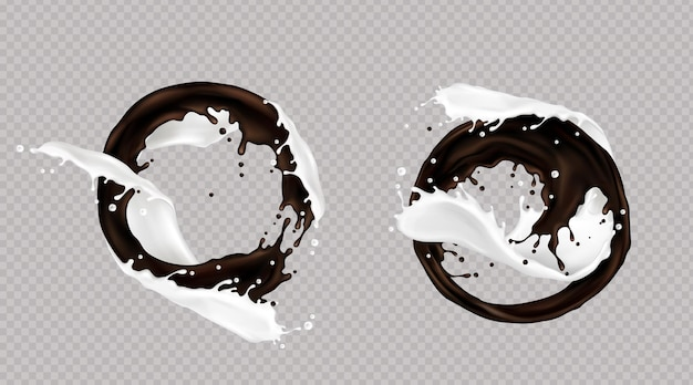 Spritzer milch und dunkle schokolade oder kaffee gemischt im strudel lokalisiert auf transparentem hintergrund. flüssige dynamische tröpfchen, gießelemente für verpackungsdesign, promo-anzeige, realistische 3d vektorillustration