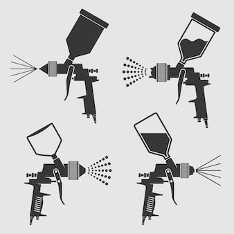 Spritzpistolen-vektorikonen der selbstkarosserie industrielle malerei