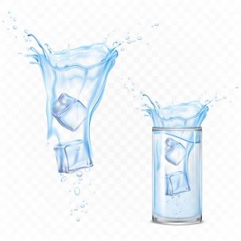 Spritzwasser mit eiswürfeln und glas. dynamische bewegung der reinen flüssigkeit mit tröpfchen und luftblasen, reines hydratationselement für die anzeige lokalisiert. realistische abbildung des vektor 3d