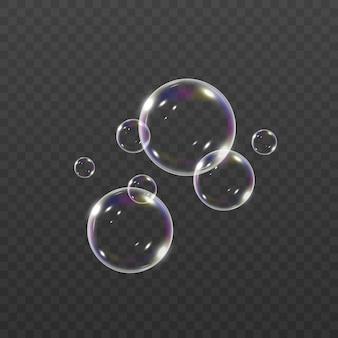 Sprudelnde unterwasserluftblasen strömen auf weißen hintergrund. sprudelnde scheine im wasser, meer, aquarium. limonade.