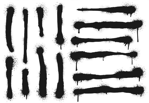 Sprühen sie gemalte linien mit farbtropfen. graffitifarbe, spritzer-zeichnungsstriche und schmutziger straßenkunstvektorillustrationssatz