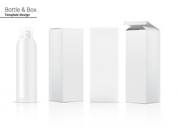 Sprühflasche realistic cosmetic und box für hautpflegeprodukt oder medizin illustration. gesundheitswesen und medizinische konzeption.