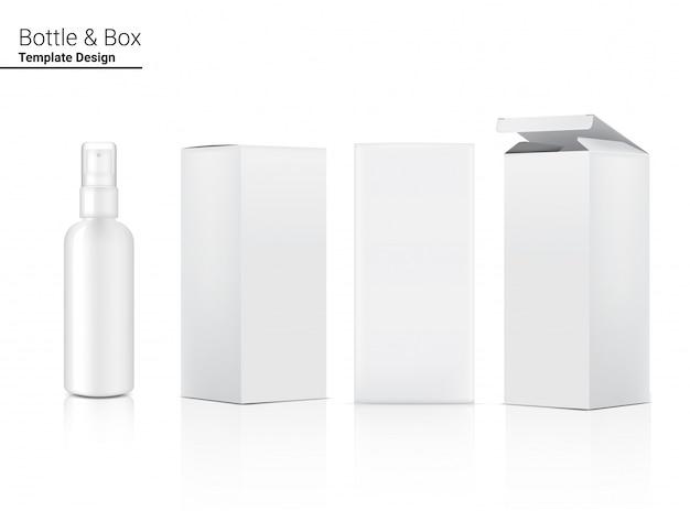 Sprühflasche realistische kosmetik und box für hautpflegeprodukt oder medizin auf weißer hintergrundillustration. gesundheitswesen und medizinische konzeption.