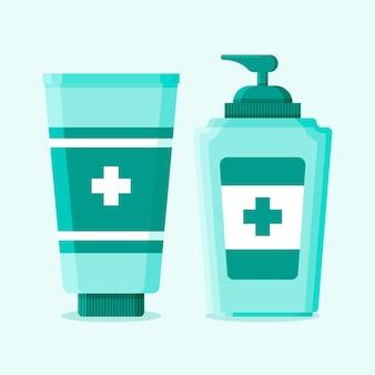 Sprühflasche und gel mit händedesinfektionsmittel