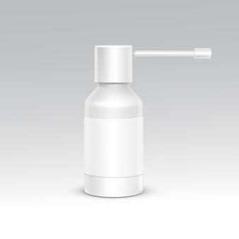 Sprühflasche white plastic packaging container set. medizinische kosmetische versorgung. leere isolierte vektor-illustration