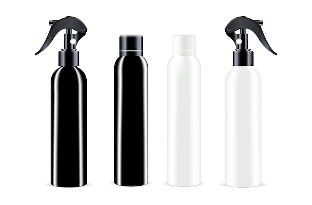 Sprühflaschen in schwarz-weißer farbe