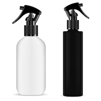 Sprühflaschenauslöser. kosmetische pistolenspritze. küchenreinigerflasche. realistisches haarspray, flakon mit aromatischer duftessenz, organische naturheilkunde. pumpenkolben
