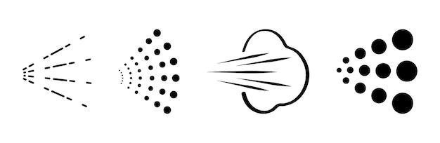 Sprühvektorikonen eingestellt. wasser- oder luftsprühdüse für farbaerosol oder deodorant. vektor-spray-logo-set