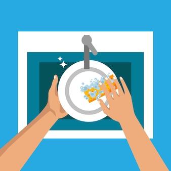 Spülkonzept flaches design der küchenspüle hände spülen teller mit schaum