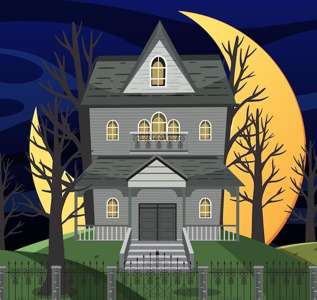 Spuk-halloween-villa in der nacht