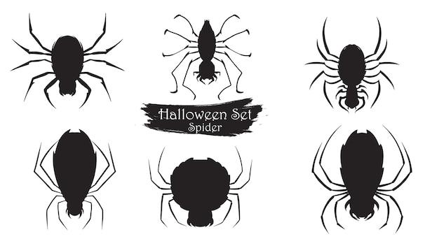 Spuk spinne silhouette sammlung von halloween