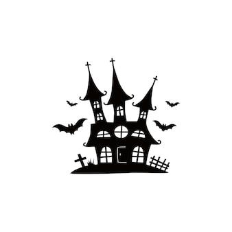 Spukhäuser für halloween-schlösser mit monstern schwarze haussiebe vektorillustration für kinder