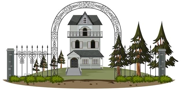 Spukhaus außen auf weißem hintergrund