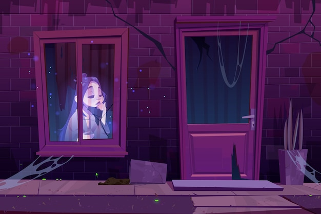 Spukhaus mit traurigem geist sitzt in der dunkelheit hinter dem fenster