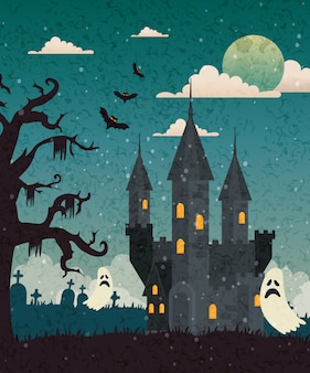 Spukschloss mit kirchhof und geist in halloween-szene