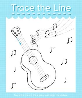 Spur und farbe: verfolgen sie das linienarbeitsblatt für kinder im vorschulalter - gitarre
