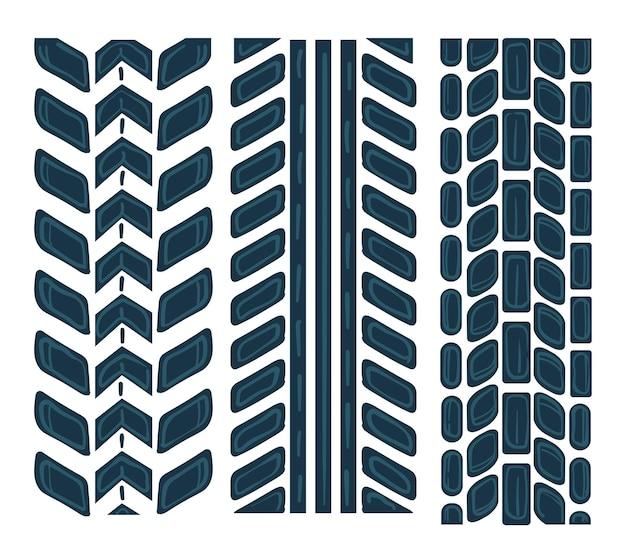 Spuren von autoreifen, isolierte symbole. bedrucken von fahrzeugreifen, schlammigen und schmutzigen wegen durch den transport