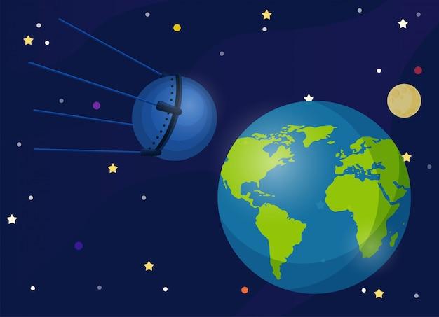Sputnik es ist der erste satellit, der die erde umkreist. der erste satellit, der einen hund mitnimmt