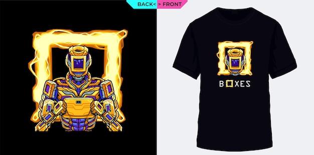 Squad game boxes als game-angreifer mit gelben roboterkostümen passend für gaming-themenkleidung