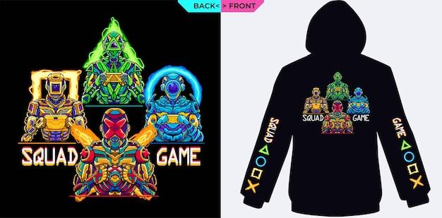 Squad game complete mit farbenfrohen roboterkostümen, die für eine gaming-themenjacke geeignet sind