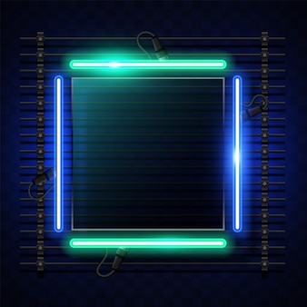 Square neon banner design