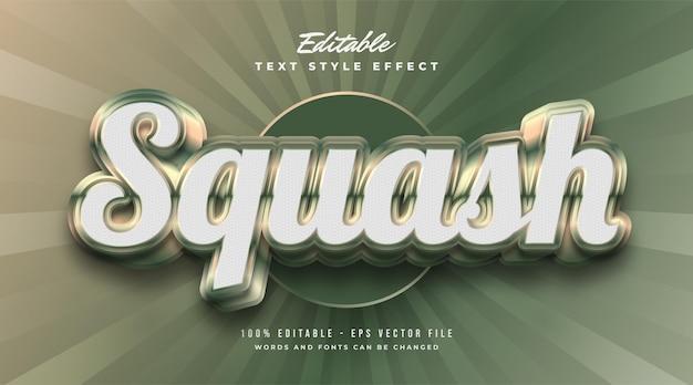 Squash-textstil mit geprägtem und glänzendem effekt