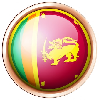 Sri lanka flagge auf rundem knopf