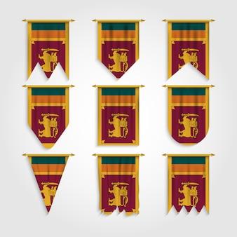 Sri lanka flagge in verschiedenen formen, flagge von sri lanka in verschiedenen formen